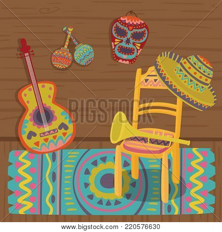 Cultural symbols of Mexico, traditional interior of Mexican house colorful vector illustration.
