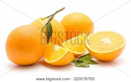 Oranges isolated on white background three whole two sliced quarters one half green leaves