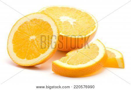 Three orange slices and one half isolated on white background sliced orange pieces