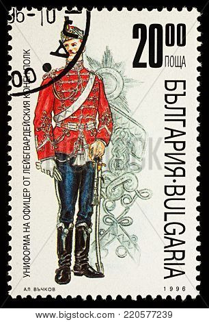 Moscow, Russia - January 02, 2018: A stamp printed in Bulgaria, shows uniform of Guard officer Cavalry Regiment, series