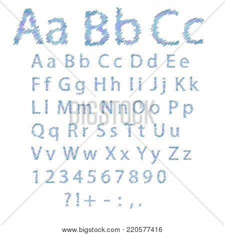 Colored hand drawn alphabet on white background. Bold capital letters. Vector stock.
