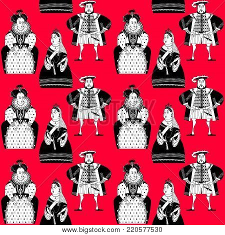 History of England. Queen Elizabeth I, King Henry VIII, Queen Victoria. Black and white. Vector illustration. poster