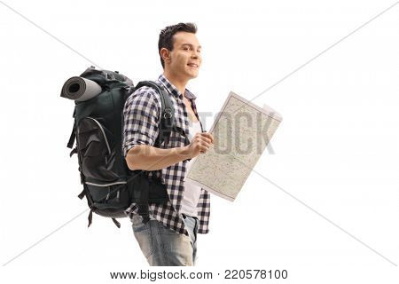 Hiker holding a generic map isolated on white background