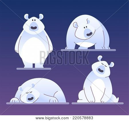 Cute polar bear - modern vector cartoon characters illustration isolated on blue background. Different emotions and poses of a funny animal. Can be used as emoticons, high quality emoji set