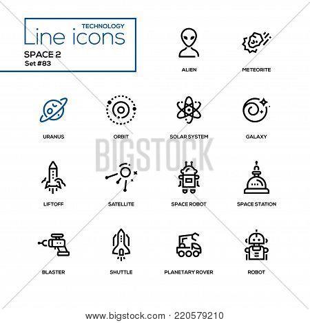 Space concept - line design icons set. High quality black pictograms. Alien, meteorite, uranus, orbit, solar system, galaxy, liftoff, satellite, robot, station, blaster, shutter, planetary rover