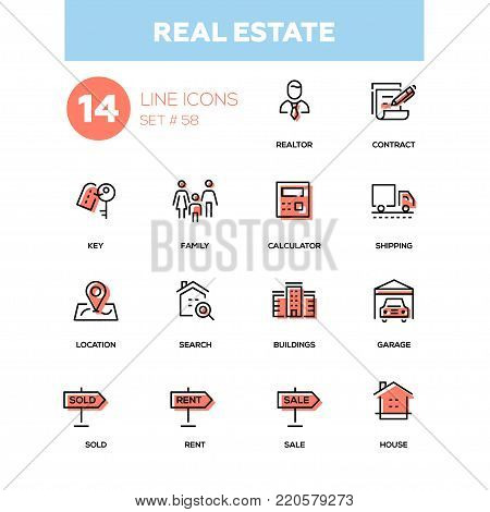 Business concept, real estate - line design icons set. Signs, objects for agents. Realtor, contract, key, family, calculator, shipping, location, search, buildings, garage, sold, rent, sale, house