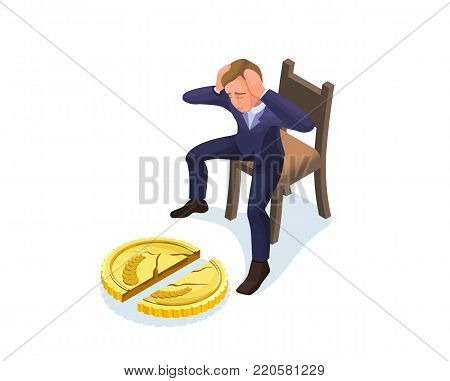 Businessman with broken coin, 3d isometric vector illustration with man and currency symbol, financial crisis concept, money fail