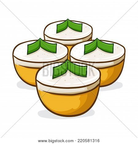 Vector stock of talam ubi indonesian traditional food made from rice flour, sweet potato, coconut milk and sugar