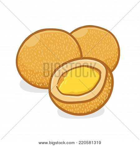 Vector stock of onde-onde indonesian traditional food, fried with sesame seeds