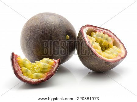 Passion fruit isolated on white background one whole one half one slice