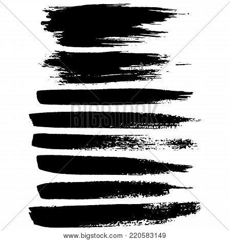 Grunge ink brush strokes. Freehand black brushes. Handdrawn dry brush black smears. Modern vector illustration