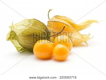 Physalis stack isolated on white background three orange berries and two in husk