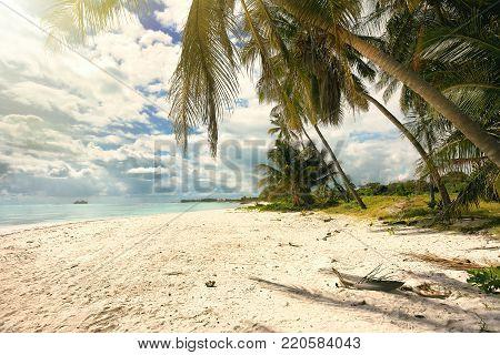 Serenity tropical beach Polariod instagram filter applied.