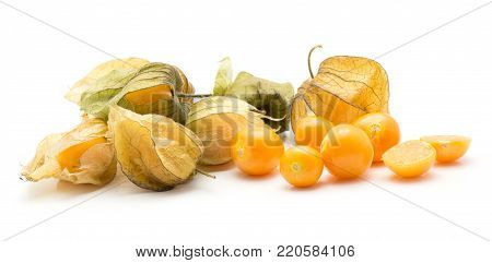 Physalis berries stack isolated on white background many in husk a lot of orange berries