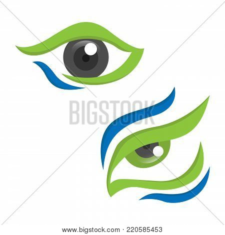 Set of eyes abstract design vector. Isolated on a white background. Abstract eyes with 3D style looking fit for healthy and security company