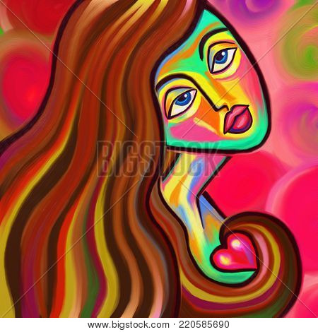 A colorful and vibrant digital painting of a young woman clutching a small heart with her long hair.