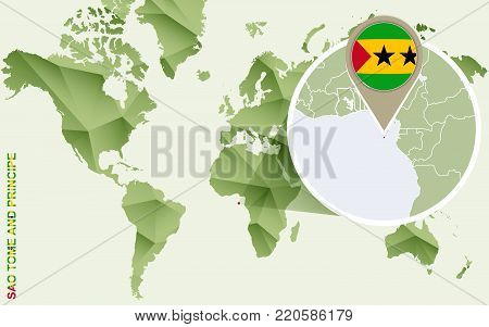 Infographic for Sao Tome and Principe, detailed map of Sao Tome and Principe with flag. Vector Info graphic green map.