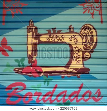 Colorful spray of an sewing machine with adornments around