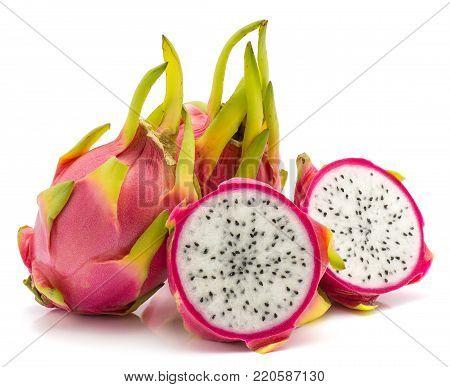 Dragon fruit (Pitaya, Pitahaya) isolated on white background two whole two halves