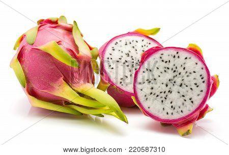 Sliced dragon fruit (Pitaya, Pitahaya) isolated on white background one whole two halves