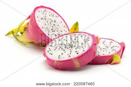 Sliced dragon fruit (Pitaya, Pitahaya) isolated on white background three slices