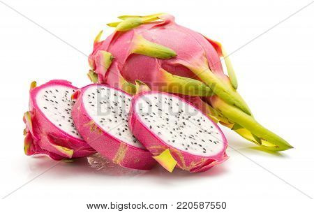 Sliced dragon fruit (Pitaya, Pitahaya) isolated on white background one whole and three slices