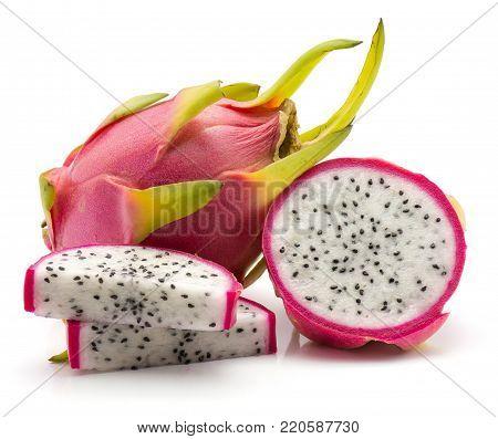 Sliced dragon fruit (Pitaya, Pitahaya) isolated on white background one whole one half two slices