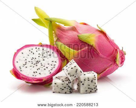 Dragon fruit (Pitaya, Pitahaya) isolated on white background one whole one half three square pieces