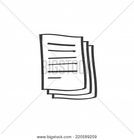 Documents pile vector icon, doodle line art or hand drawn style of paper sheet pages with text, idea of docs symbol, archive heap icon isolated on white background