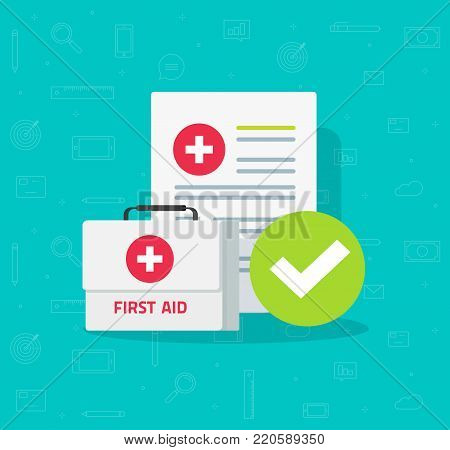 Medical box and clinical form with results data and approved check mark vector illustration, flat cartoon checklist document with checkbox, insurance or medicine service concept