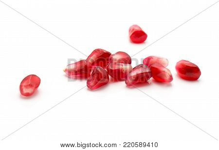 Pomegranate grains stack isolated on white background poster