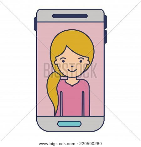 smartphone woman profile picture with pigtail hairstyle in colorful silhouette vector illustration