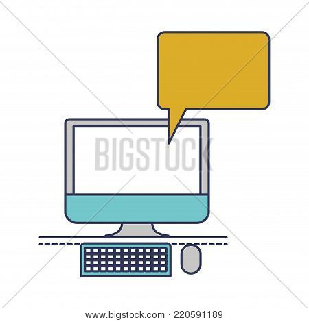 desktop computer with bubble dialogue in colorful silhouette vector illustration