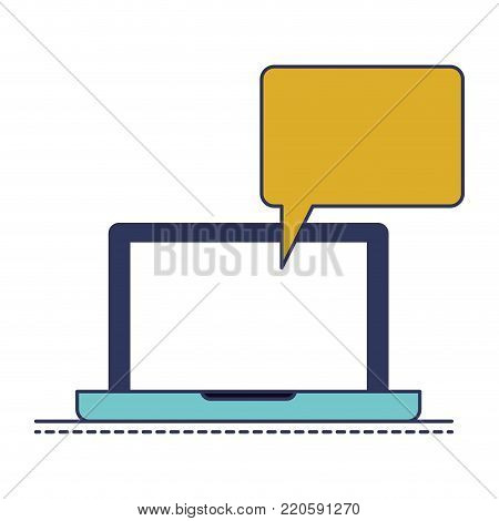 laptop computer with bubble dialogue in colorful silhouette vector illustration
