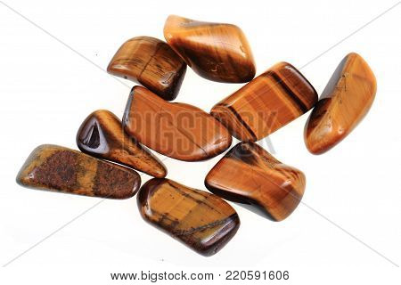 tiger eye minerals isolated on the white background