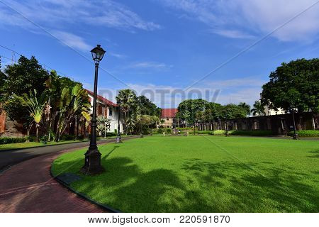 Beautiful Grass Field in the Park in Manila, Philippines