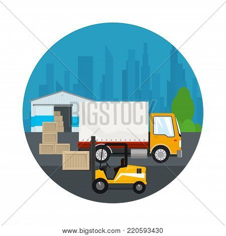 Icon Warehouse and Transport Services ,Warehouse with Forklift Truck and Lorry on the Background of the City , Unloading or Loading of Goods ,  Illustration