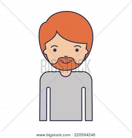 half body man with short hair and van dyke beard in colorful silhouette vector illustration