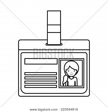 identification card with half body woman picture with pigtail hairstyle in black silhouette vector illustration