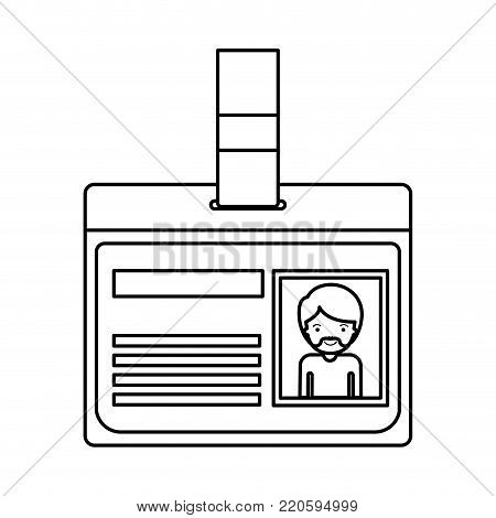 identification card with half body man picture with short hair and van dyke beard in black silhouette vector illustration