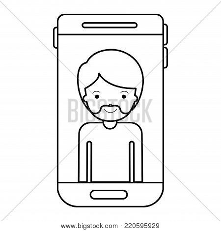 smartphone man profile picture with short hair and van dyke beard in black silhouette vector illustration