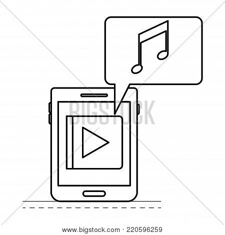 tablet device music app and dialogue box in black silhouette vector illustration