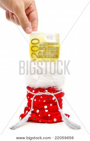 A Hand Taking Money A Bill From Gift Bag