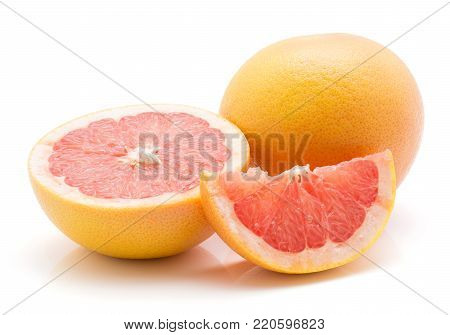Red grapefruit isolated on white background one whole one half and a slice poster
