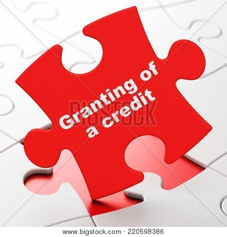 Currency concept: Granting of A credit on Red puzzle pieces background, 3D rendering