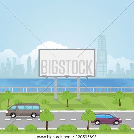 A large empty city billboard for your advertising and a road with a passing transport near him vector illustration