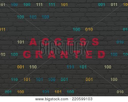Safety concept: Painted red text Access Granted on Black Brick wall background with Binary Code