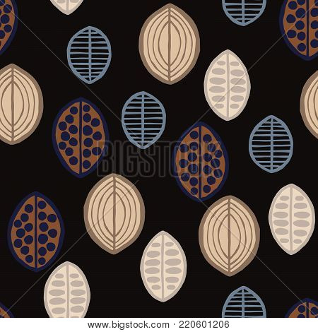 Seamless floral pattern with primitive leaves. Seamless floral pattern with primitive leaves. Tribal ethnic background, taupe tones on black background. Textile design.