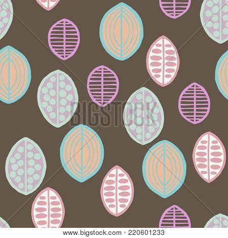 Seamless floral pattern with primitive leaves. Seamless floral pattern with primitive leaves. Tribal ethnic background, pastel tones. Textile design.