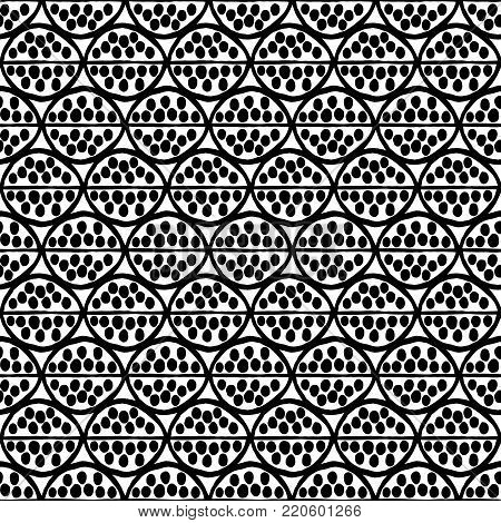 Seamless  primitive floral pattern with abstract leaves. Tribal ethnic background, simplistic geometry, black and white. Textile design.